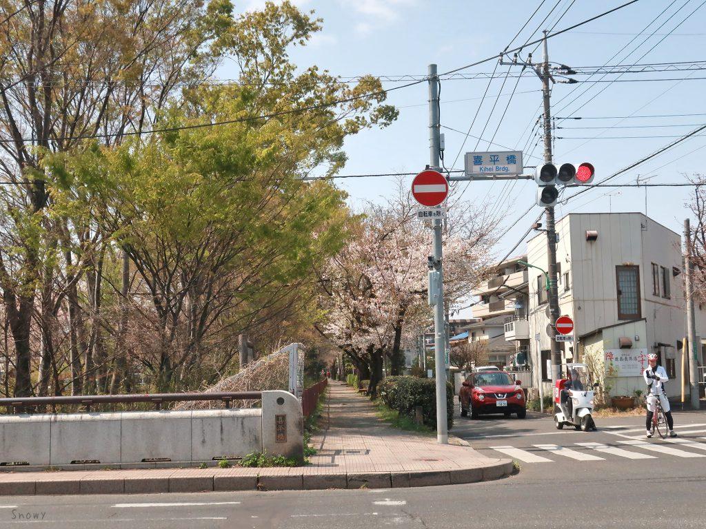 喜平橋から上流の玉川上水側道(山家通り)