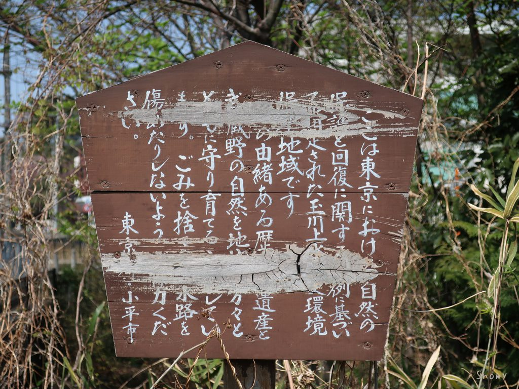 小平市の玉川上水説明板