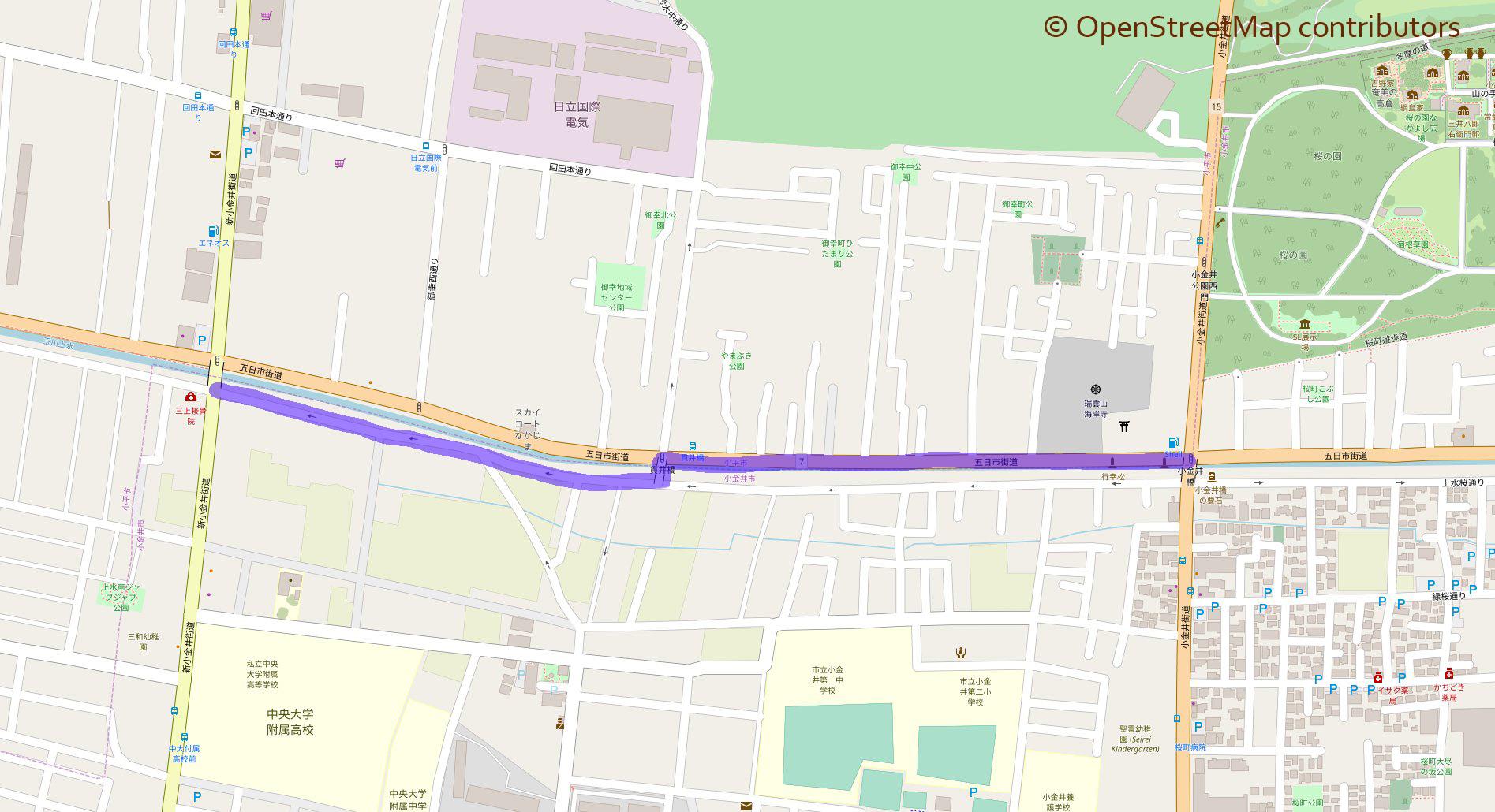 玉川上水を歩く (39) 小金井橋から茜屋橋 マップ